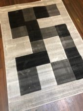 NEW MODERN BLOCK DESIGN RUGS GREY 115X165CM 6FTX4FT APPROX LUXURY QUALITY MATS
